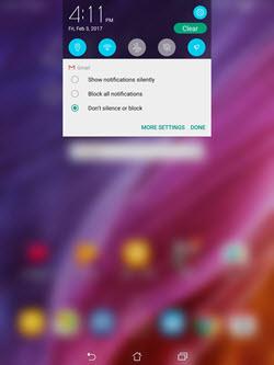 Asus Zenpad Z10 Notification Settings screenshot