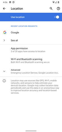 Google Pixel XL Better Location Controls screenshot