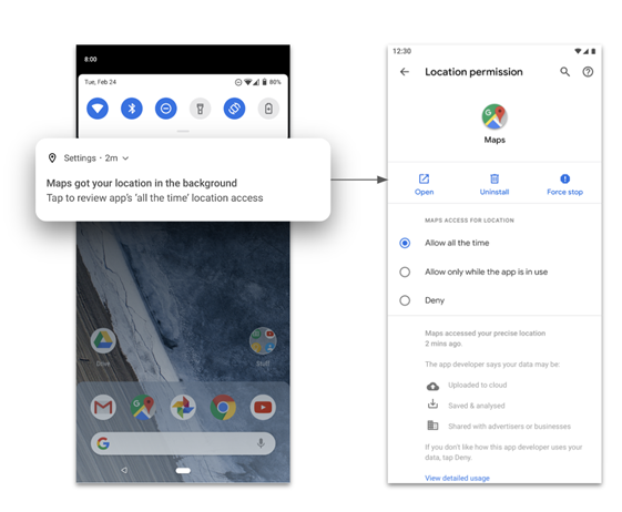Google Pixel XL Location Permission Reminders screenshot
