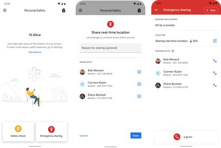 Google Pixel Emergency Sharing screenshot