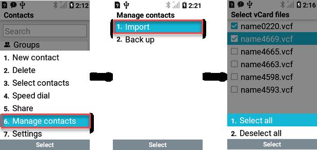LG Exalt LTE Manage Contacts screenshot