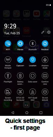 LG V40 ThinQ Settings screenshot