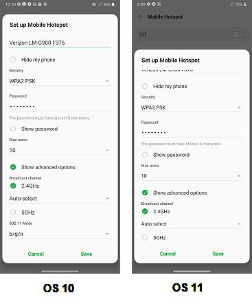 LG Velvet OS 11 Mobile Hotspot screenshot