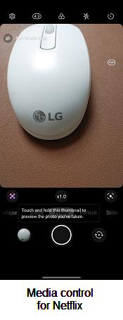 LG WING Media Control screenshot