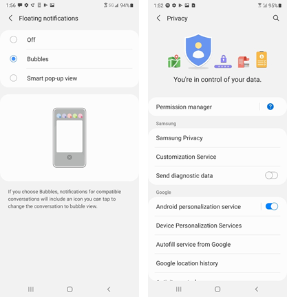 Samsung Galaxy A50 OS 11 screenshots