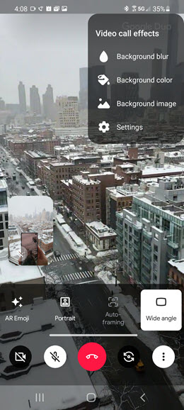Samsung Galaxy A71 5G Video Call Enhancements screenshot