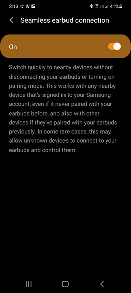 Samsung Galaxy S10 5G Galaxy Buds screenshot