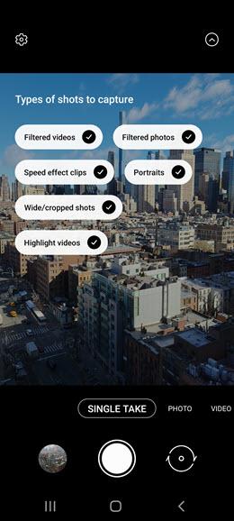 Samsung Galaxy S10 5G Single Take Shot Customization screenshot