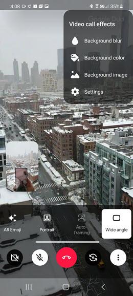 Samsung Galaxy S10 5G Video Call Enhancements screenshot