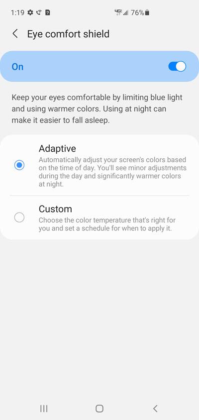 Samsung Galaxy S10 Eye Comfort Shield screenshot