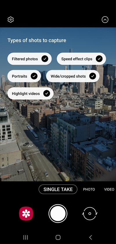 Samsung Galaxy S10 Single Take Shot Customization screenshot