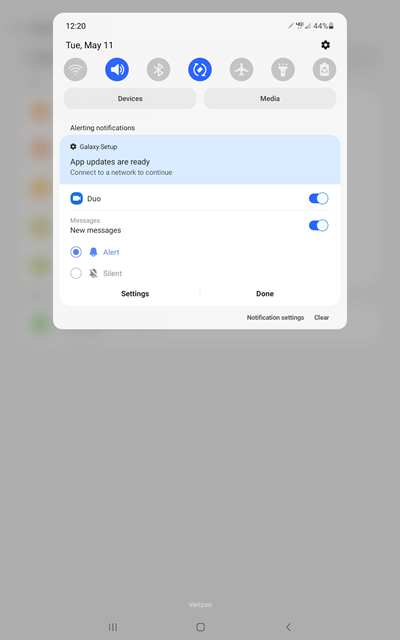 Samsung Galaxy Tab S6 OS Update Notifications screenshot