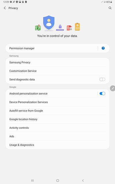 Samsung Galaxy Tab S6 OS Update Privacy screenshot