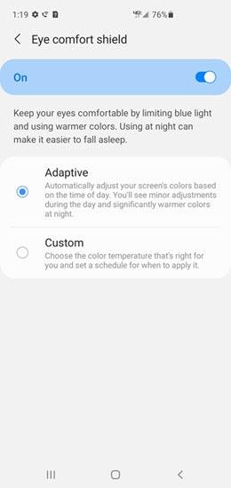Samsung Galaxy Note10 Eye Comfort Shield screenshot