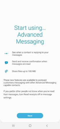 Samsung Galaxy Note20 Advanced Messaging screenshot