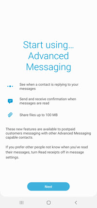 Samsung Galaxy S20 Advanced Messaging screenshot