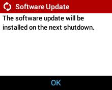 User Initiated Software Update - Software Update Installed on Next Shutdown