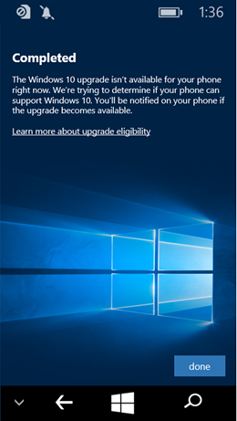 Windows 10 Upgrade Adviser App Update Not Available screenshot