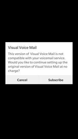 BlackBerry Q10, Z10 and Z30 Visual Voice Mail Not Compatible screenshot