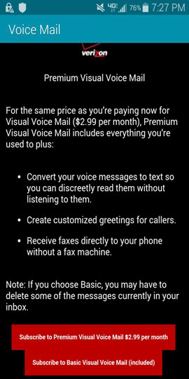 BlackBerry Q10, Z10 and Z30 Premium Visual Voice Mail screenshot