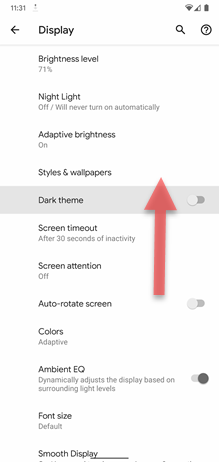 Google Pixel XL Dark Theme screenshot