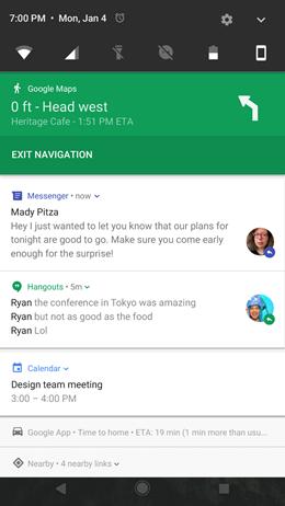 Google Pixel XL Notifications Visual Cleanup screenshot