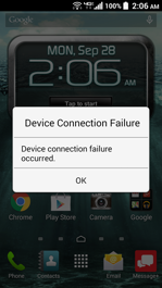 Kyocera Brigadier Device Connection Failure Screen
