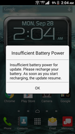 Kyocera Brigadier Insufficient Battery Power Screen