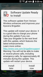 Kyocera Brigadier Software Update Ready to Install Screen