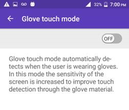 Kyocera DuraForce Pro Glove Touch Mode screenshot