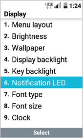 LT Exalt LTE LED Notification Settings screenshot