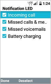 LT Exalt LTE LED Notification Settings screenshot