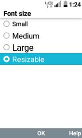 LT Exalt LTE Screen Font Settings screenshot