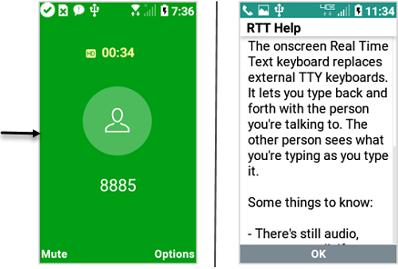 LG Exalt LTE Incoming Calls with RTT Mode On screenshot
