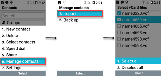 LG Exalt LTE Manage Contacts screenshot