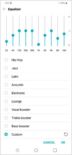 LG G7 ThinQ Music Equalizer screenshot