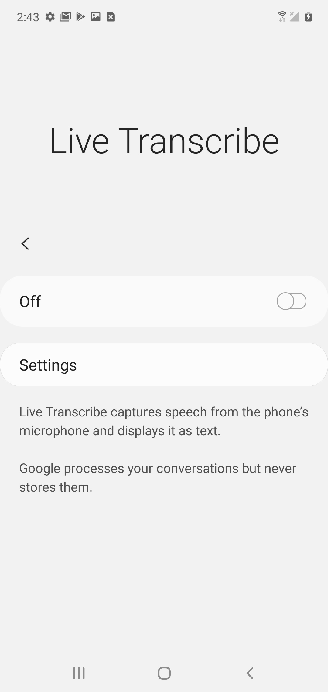 Samsung Galaxy S9 Plus Gestures and Live Transcribe