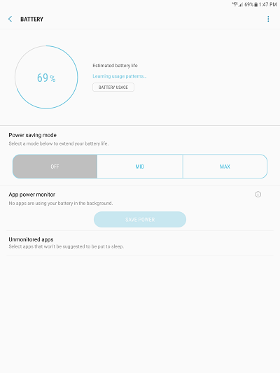 Samsung Galaxy Tab S2 (2015) Battery Management screenshot