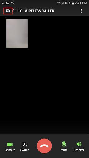 Samsung Galaxy J3 Eclipse LTE Video Call Screen screenshot