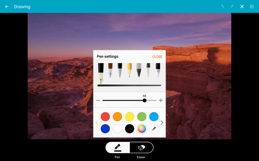 Samsung Galaxy Tab S New Pen Settings and Tools in Gallery screenshot