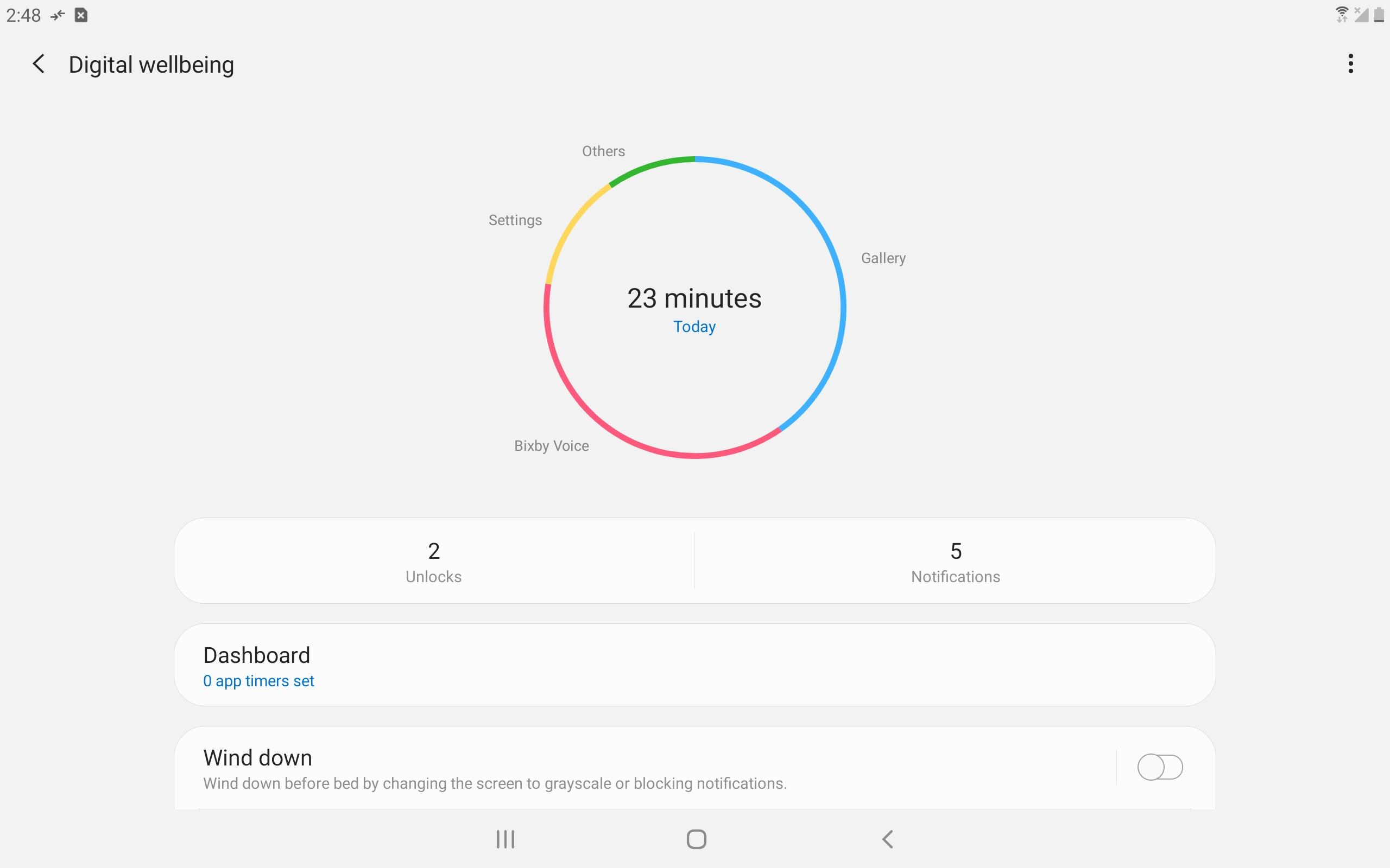 Samsung Galaxy Tab S4 Digital Wellbeing screenshot