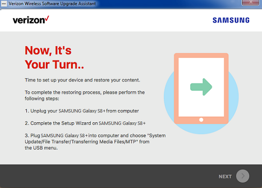 Samsung Software Repair Assistant Setup and Restore screenshot