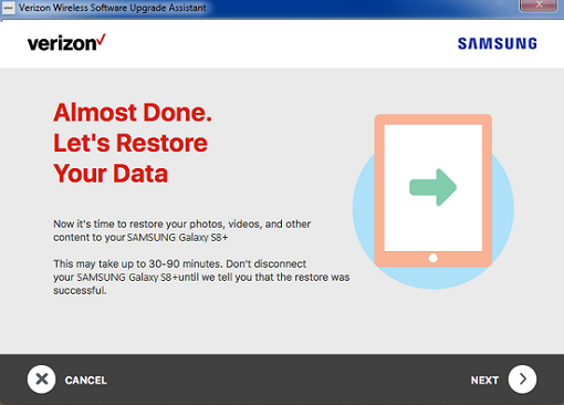 Samsung Software Repair Assistant Restore Data screenshot