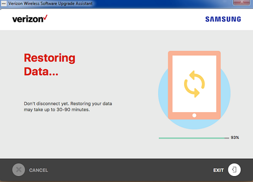 Samsung Software Repair Assistant Restoring Data screenshot