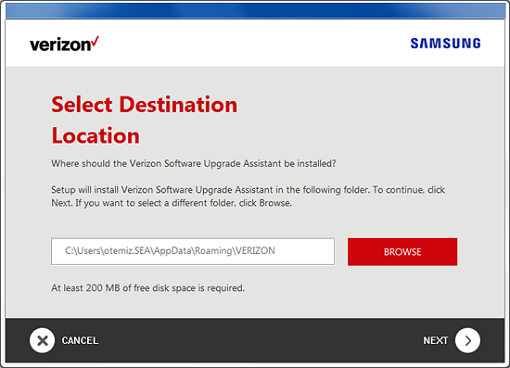 Samsung Software Upgrade Assistant Destination Location screenshot