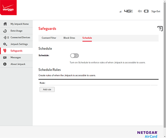 Verizon Jetpack AC791L Scheduling Feature screenshot