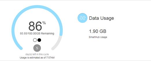 Verizon Smarthub Data Usage Screen