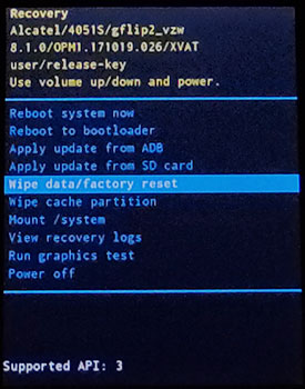 Recovery screen factory reset