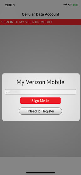My Verizon sign in