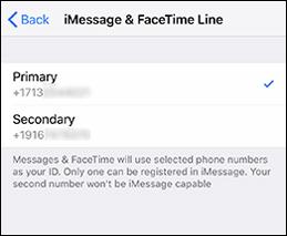 Select iMessage & FaceTime Line